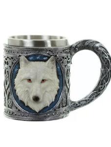 Gothic White Wolf Tankard Decorative Mug Game Of Thrones Style Mug Cup