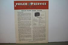 PHILCO RADIO SERVICE MANUAL 50-620 (8 PAGES)