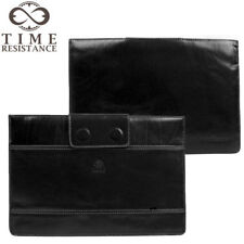 "LEATHER LAPTOP SLEEVE BLACK CASE MACBOOK 13"" FULL GRAIN GENUINE HANDMADE NEW"