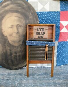 Small Child Size Antique Wood & Tin Washboard w Old Wood Clothespin