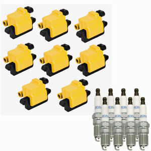 8 ACDelco Spark Plugs + 8 Yellow Square Ignition Coils For LS2, LS4, LS7 UF271