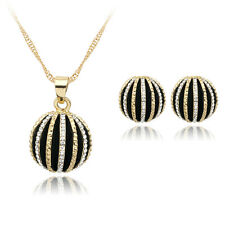 Lucky Ball Rhinestones Alloy Pendent Necklace Earrings Jewelry Set Party Gift