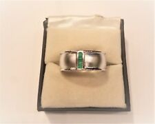 925 Sterling Silver Natural Gemstone Emerald Matte Finish Ring Jewelry Us 7 8