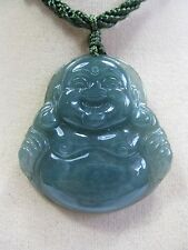 Handcrafted knot work cord adjustable Grade Ajade carved laughing buddha pendant