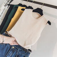 Lady Knitting Tank Top Vest Summer Sleeveless Tops Scoop Neck Plain Solid Shirts
