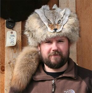 GLACIER WEAR REAL COYOTE FUR DAVY CROCKETT FACE & TAIL HAT MADE IN USA