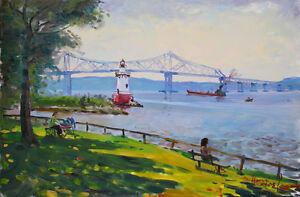 Lighthouse Tarrytown Tappan Zee Bridge Nyack NY Landscape Print on canvas byStar