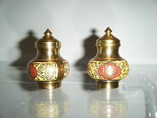Vintage Brass Asian Salt and Pepper Shaker 2piece Set 2¾""