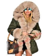 Women's winter Real fur coat Long Fox fur jacket warm Genuine Fur Hooded Parka