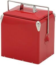 Metal Chest Cooler 12 Qt. Old Fashioned Red Retro Vintage Nostalgic Picnic Party