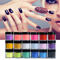 18 Colors Box Acrylic Nail Art Tips UV Gel Powder Dust Design Decor 3D Manicure