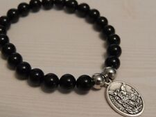 SAINT MICHAEL MEDALLION- MENS BRACELET-BLACK ONYX/AGATE GEMSTONE STAINLESS STEEL