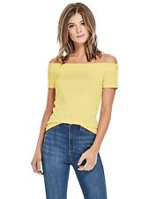 GUESS Top Women's Off Shoulder S/Sleeve Slim Fit Stretch Tee Top L Yellow NWT
