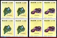 2198-99-Q BRAZIL 1989 CUT AND UNCUT GEMSTONES, GEOLOGY, MI# 2312-13, BLOCKS MNH