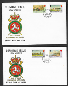 1975 ISLE OF MAN -NEW VALUE DEFINITIVES - 2 X FIRST DAY COVERS.