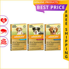 ADVOCATE 6 Doses for Dogs Heartworm Worm and Flea Prevention FREE Shipping