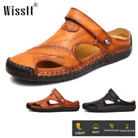 Men's Genuine Leather Sandals Closed Toe Fisherman Beach Casual Shoes Slippers