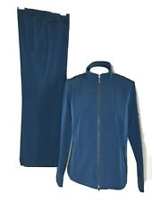 Zenergy By Chicos Tracksuit Jacket Pants 2 Piece Set Size 1 Blue Zip Up Stretch