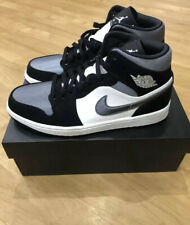 Nike Jordan 1 Mid Satén Gris Toe UK9.5 US10.5 Negro Gris Blanco Nuevo Y En Caja