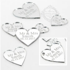 Personalised Mr & Mrs Silver Love Hearts Wedding Party Table Décor Confetti Gift