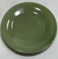 """(Set of 3) Pottery Barn Green Crackle Round Salad Plates - 8 3/4"""""""