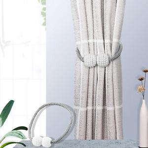A Pair 2Pcs Grey Magnetic Curtain Tie Backs Curtain Holdbacks Buckle Clips UK