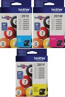 GENUINE NEW Brother LC201 Ink Cartridge 3 Pack
