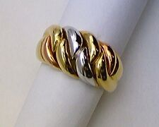 """LADIES DOME RING INTERLACE DESIGN"" - 14 kt YELLOW, WHITE & PINK GOLD"