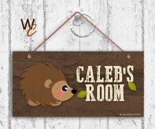 Hedgehog Sign, Woodland Personalized Sign, Kid's Name, Kids Door Sign, 5x10 Sign