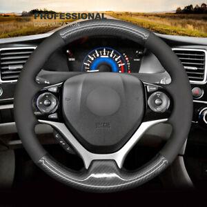 DIY Custom Soft Black Suede Carbon Fiber Steering Wheel Cover For Honda Civic 9