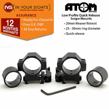 Set of Quick release low profile weaver rifle scope mounts. Suits 25+30mm scopes