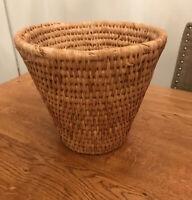 Vintage Woven Basket Planter Plant Holder Bin Retro Boho Tiki
