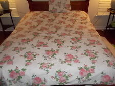 THE LAND OF NOD 2 CURTAINS &  DUVET & CASE  COTTON FLORAL PINK/WHITE  SIZE TWIN