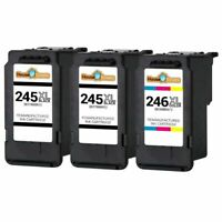 3pk Black & Color Ink for Canon PG245XL CL246XL PIXMA MX490 MG2555 Printers