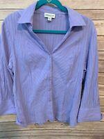 Coldwater Creek Purple Crinkle Gauze Button Front Blouse Size Large
