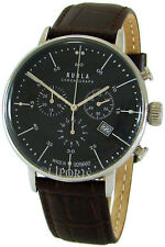 Ruhla Chronograph Made in Germany Edelstahl Herrenuhr mens watch Lederband braun