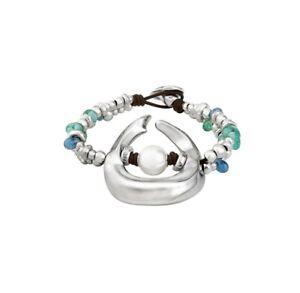 NWT Uno De 50 Blue Murano Glass Pearl Silver Statement Bracelet DUNE size M