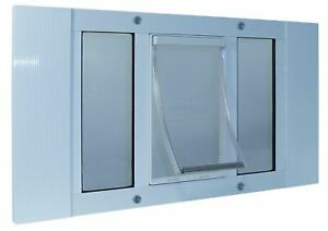 "Ideal Pet Products Aluminum Sash Cat Flap Pet Door Small White 1.25"" x 23"" x 12."