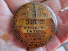 Vintage 1928 New YorkFishing License / Numbered Pinback Badge