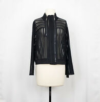 IC by Connie K S Jacket Black Open Knit Zip Front Misses S