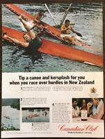 ORIGINAL 1966 Canadian Club Whisky PRINT AD Maori Hurdle Races in New Zealand