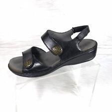 Aravon by New Balance Women's Black Double Strap Leather Sandals Size 8 D