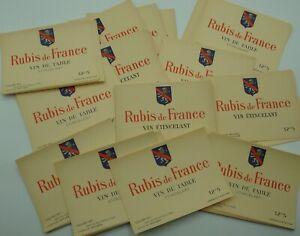LOT100 etiquettes /  RUBIS DE FRANCE /VIN /LABELS BOISSON ALCOOL VINS OLD