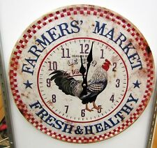 "RUSTIC LOOKING ROUND WALL CLOCK  WITH CHICKEN MOTIF -15.5"" WIDE -UMA-52592 C"
