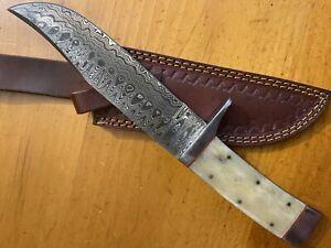 Brussel Custom Handmade Damascus Steel Camel Bone Full Tang Hunting Knife