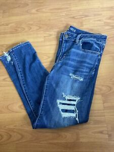 American Eagle Women's Super Stretch X Denim Distressed Jegging Size 14 R