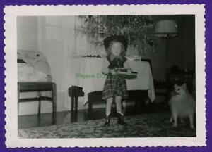 E03 1950's Girl In Cowboy Costume Xmas Tree Cute little Dog Photo Vtg Snapshot