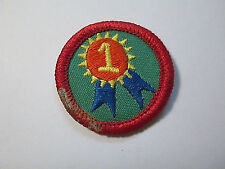 Girl Scout 1990's Junior MY SELF ESTEEM BADGE Being My Best #1 Blue Ribbon Patch
