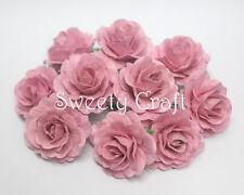 10 Light Pink Mulberry Paper Roses Flower handmade size 3 cm.(30 mm.) Card