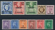 1948-1949 KUWAIT OVERPRINT DEFINITIVES SET OF 11 MINT HINGED SG64-SG73a